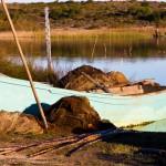 Fischerboot mit Netzen